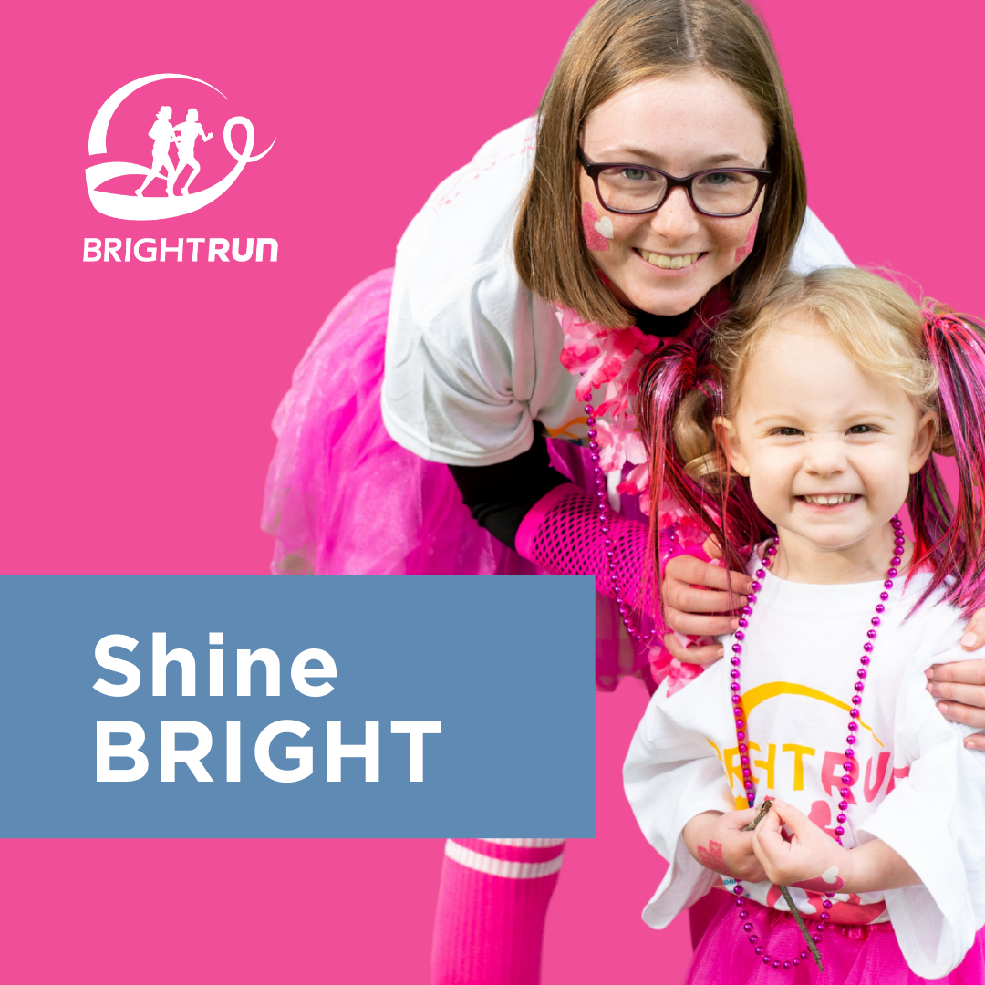 """Picture of a young woman and child with a text overlay that says """"Shine BRIGHT"""""""
