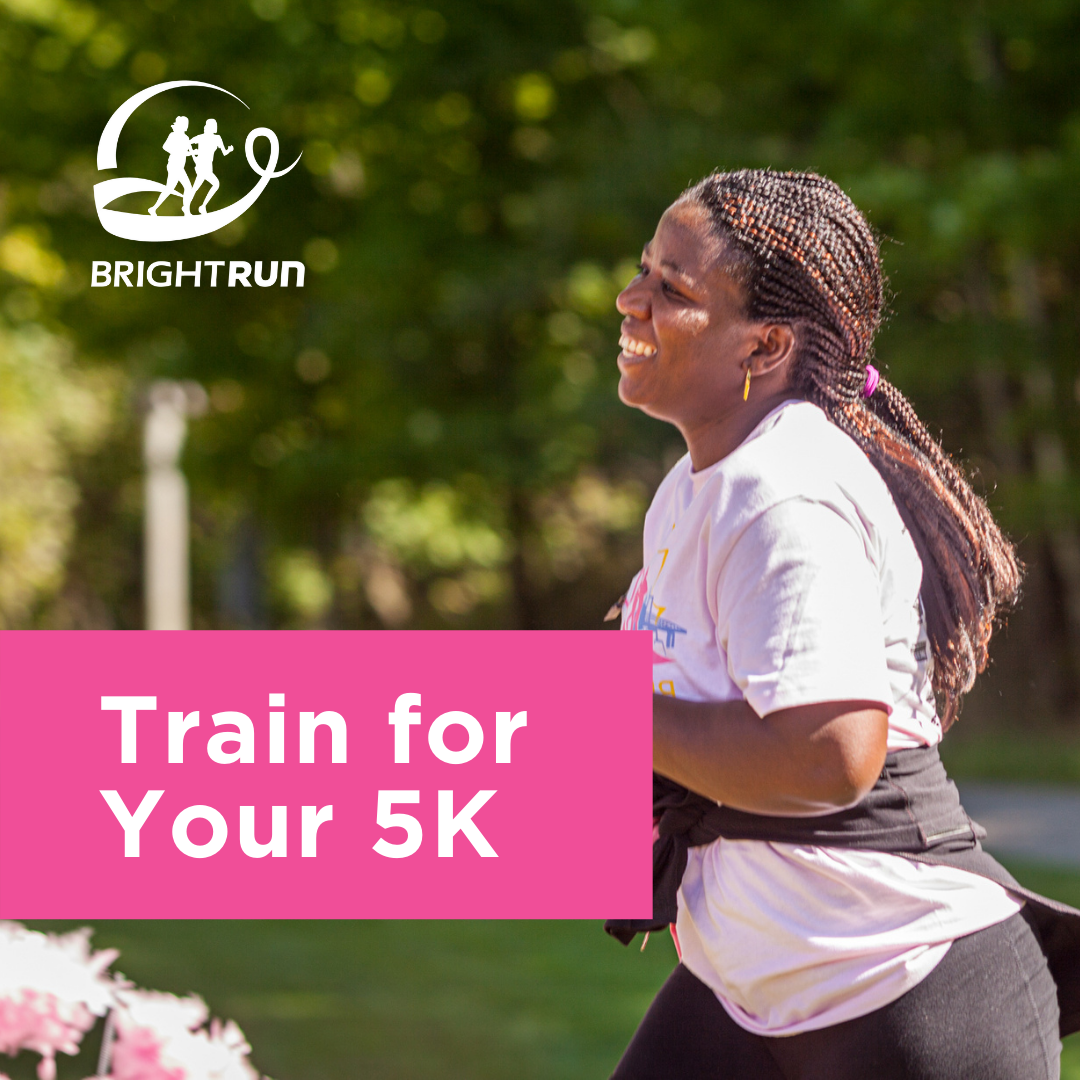 """Picture of a woman running with a text overlay that says """"Train for Your 5K"""""""